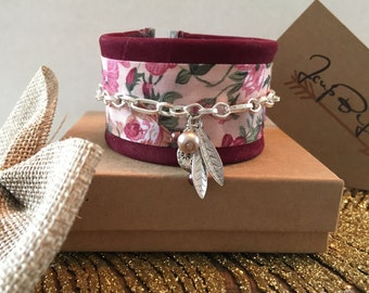 Red wine suede Cuff Bracelet, flower, charms.