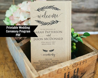 Printable Wedding Program Template, Rustic Wedding Ceremony Program, Instant Download, PDF