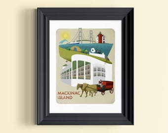 Michigan art | Michigan print | Michigan gifts | Michigan wall decor | Michigan skyline | Michigan souvenir | Mackinac Island | Michigan