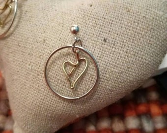 Silver hoop with brass wire heart