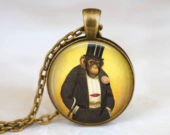 Monkey in Suit Necklace Monkey Chimp Necklace - Animal In Suit Necklace Chimp In Suit Animal Necklace - Monkey Wearing Hat Artwork Necklace