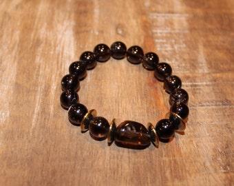 Brown Beaded Stretch Bracelet