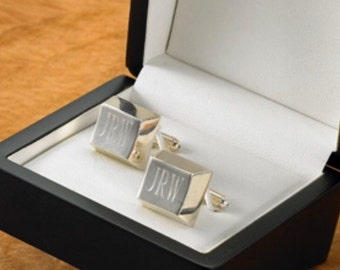 Silver Plated Cufflinks, Personalized Cufflinks, Monogram Cufflinks, Personalized Cuff links