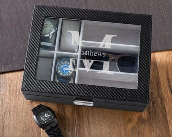 Personalized Mens Watch Box, Monogrammed Watch Box, Husband Gifts, Gifts for Dad, Gifts for Him, Personalized Mens Watch and Sunglasses Box