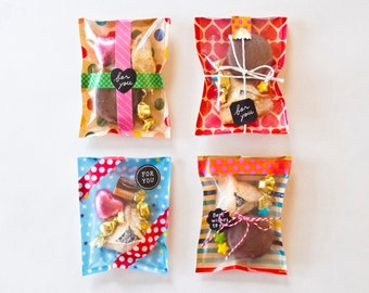 Mini candy bags, Transparent gift bags, Japanese paper bags, Cute Treat bags, Party favor bags  > Set of 15