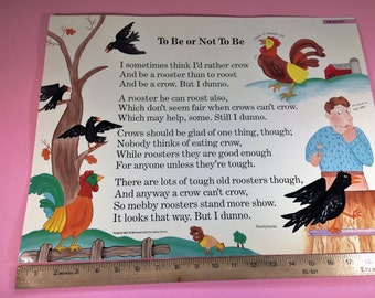 Vintage Educational School Poem Poster 1986 Anonymous Illustrated by Cathy Sturm Great for First or Second Grade