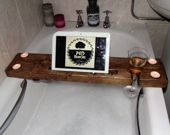 Bath board -Bath Caddy - Wooden Bath Tray - Wine glass holder - wooden bath board - Tablet stand - valentines - gift - pamper - spa