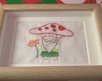 Toadstool gnome / fairytale/ fairyland hand embroidered framed picture