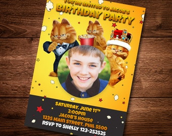 Garfield Birthday Invitation card, Boy or Girl  Birthday Invitation, Customized Birthday Theme, Birthday Invite, Invitation, DIY