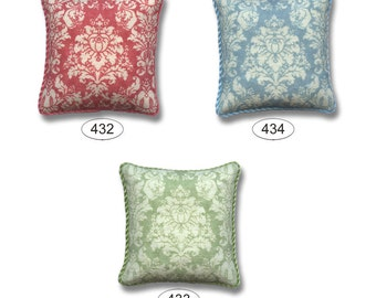 Coral Blue Green Damask Dollhouse Miniature Pillow One Inch Scale