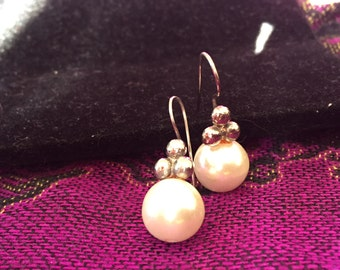 Vintage Faux Pearl and Sterling Silver Earrings – 1980's