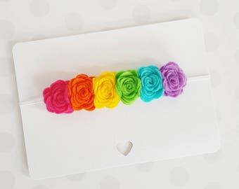 Rainbow felt flower headband/rainbow baby headband/ rainbow headband/ felt flowers/ rainbow baby crown/ baby gift/ newborn headband