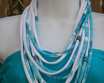 Turquoise-White Infinity Scarf