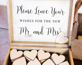 Leave Your Wishes for the New Mr and Mrs, Wishing Well, Wooden Hearts, Wedding Sign, Guest Book Alternative, Well Wishes Printable MAM208_10