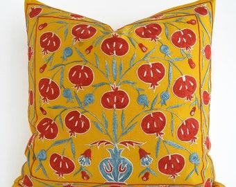 SALE Suzani Throw Pillow Yellow Red Blue Suzani Pillow Decorative Pillow Suzani Lumbar Needlecraft Ethnic Bohemian Throw Accent Pillow