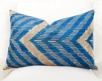 All Size Handwoven Silk Organic Modern Blue, Beige Silk Ikat Velvet Pillows, ikat pillow, velvet pillow, ikat, blue, velvet, throw pillow
