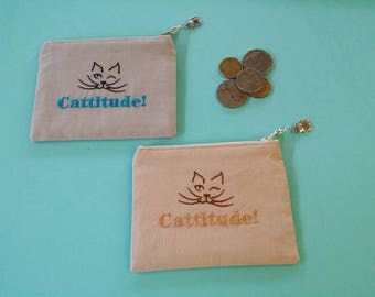 Coin Purse, Cattitude, Cat, Zippered Pouch, Purse, Wallet,  Pouch, Mothers Day Gift