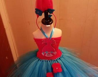 Sale! Pink Troll- Poppy Troll inspired tutu costume dress with choice of troll hair headband or bow. Troll theme party.
