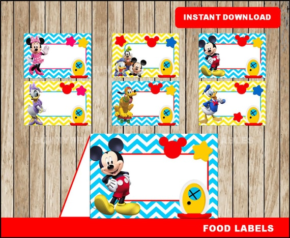 Mickey Mouse food labels; printable Mickey Mouse Clubhouse tent cards Minnie Mouse party food tent cards instant download  sc 1 st  Etsy & Mickey Mouse food labels printable Mickey Mouse Clubhouse