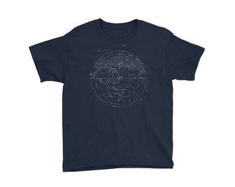 Vintage Detailed 1920's Star Map • Youth Heather Gray Lightweight T-Shirt