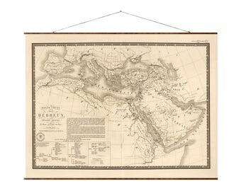 """Hebrew World Map, 33x44"""", Canvas Map, vintage map, antique map, large canvas map, ancient maps, Hebrew map, roll down map"""