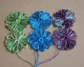 6 Loom Flowers Appliques using Crochet Cotton Blue/Green Shades