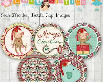 Christmas, Sock Monkey Bottle Cap Images, 1 INCH Round Images - PRINTABLE Instant Download- Inch Bottle Cap Image/Digital Collage sheet
