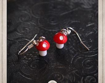 MUSHROOM earrings silver ears and resin, BOA051