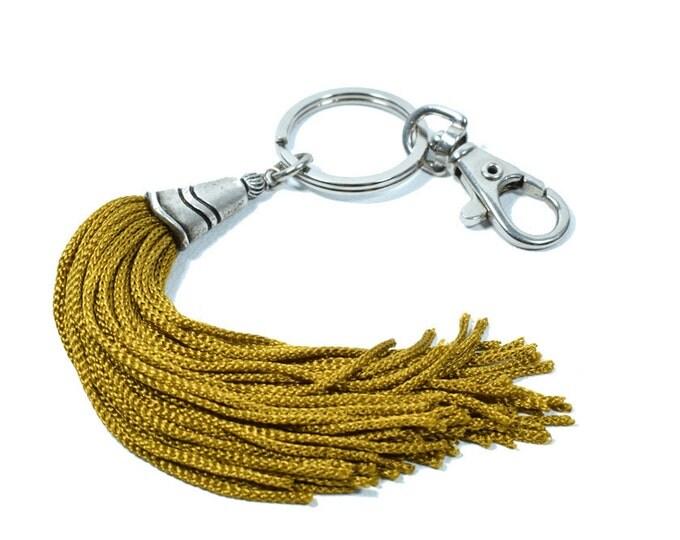 Gold Tassel Keychain, Bag Hanging, Tassel Boho Keychain, Keyring, Bag Charm, Long Gold Tassel