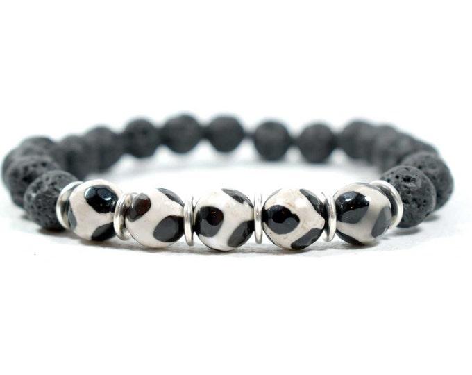 Men's Bracelet with Tibetan Agate and Black Lava Beads.
