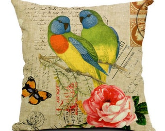 European Stamp Series Bird Print Decorative Pillow Cover - Scarlet Chested Parakeets