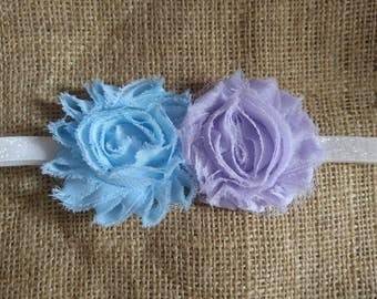 Infant Lavendar and blue flower headband