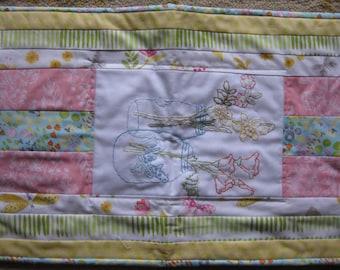 Spring Embroidered Quilted Tablerunner