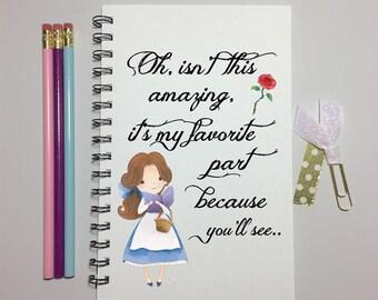 Beauty and The Beast, Belle,  Journal, Bullet Journal, Notebook, Belle Journal, Sketchbook, Disney Journal, Quote, Spiral Journal, Gift,