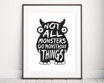 Cute Monster Print, Nursery Typography, Little Monster Print, Kids Print, Boys Print, Nursery Wall Art, Nursery Quote, Cute Monster Quote