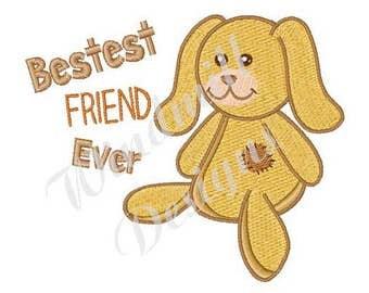 Best Friend Stuffed Bunny - Machine Embroidery Design