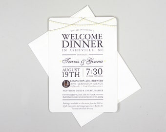 Classic String Lights 5x7 Welcome Wedding Rehearsal Invite // 5x7 Welcome Dinner Invitation with A7 Envelope