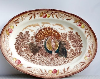 Vintage ironstone transferware Turkey platter - medium size