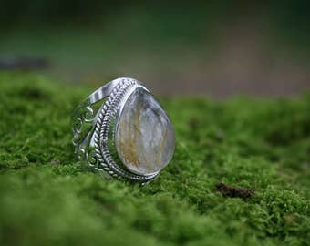 Golden Rutilated Quartz Ring, Sterling Silver