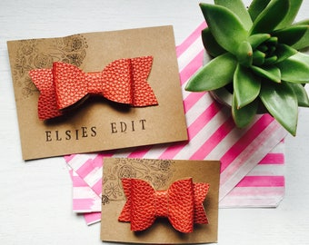 Rusty Copper, textured leatherette hair bow