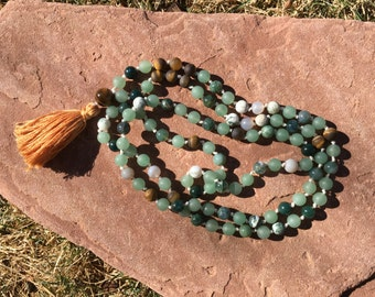 Natural Gemstone 108 Bead 8mm Mala / Prayer Beads / Necklace  - Green Aventurine. Moss Agate, Tree Agate, Tiger's Eye