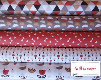 """Set of 5 fabrics coupons kids patchwork 100% cotton oekotex """"Chile/Pepper"""""""
