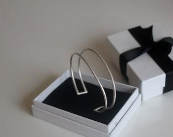 Sterling Silver Cuff Bangle, Simple Cuff Bangle, Open Bangle, Adjustable Bangle, Silver Bangle, Silver Jewelry