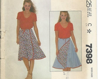 McCalls, 7398, Sewing Pattern, Reversible, Front Wrap, Wrap Around, Misses Skirt, Flared Skirt, Vintage, 1980s, Womens, Wrap Skirt, Uncut