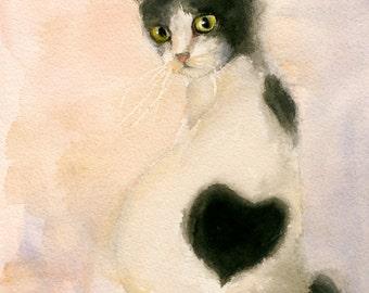 """cat painting,titled""""little heart cat"""",cat watercolor,cat print,kitten,pet portrait"""