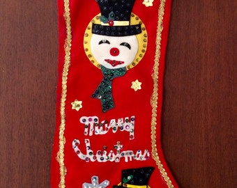 Vintage Felt and Sequin Christmas Stocking 2 Sided