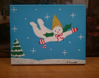 Mr Bingle // New Orleans Art // NOLA Christmas // Flying Snowman // Acrylics // Original One-Of-A-Kind Painting // Signed by Artist