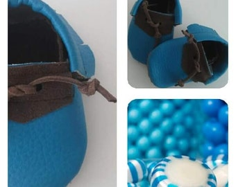 Baby Moccs, baby moccasin shoes, toddler moccasins, blue  tie moccasins, blue baby moccasin, baby, moccasin,leather baby moccs, eco leather