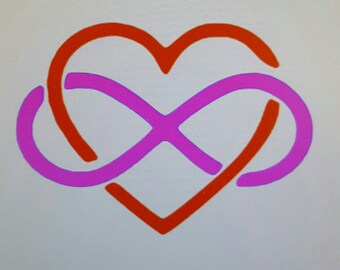 Infinity and Heart Decal, Infinity Yeti Decal, Infinity Heart Decal, Heart Infinity car decal, infinity laptop decal, infinity rtic decal