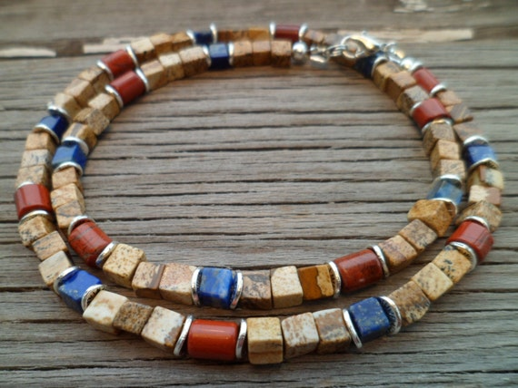 Natural Stones  Picture Jasper, Lapis Lazuli, Red Jasper Beaded  Necklace for Men,Ethnic Necklace,Mens Unisex  Beaded Necklace, Gift for Men